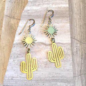 14K Gold/ Sterling Cactus Sun Earrings